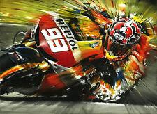 Marc Marquez Repsol Honda RC213V MotoGP 2013 Biker Rider Helmet Art Print Poster