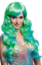 MERMAID COSTUME WIG LADIES LONG WAVY AQUA FANCY DRESS BLUE GREEN WIG NEW