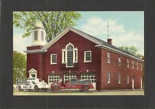POSTCARD:  FIRE STATION & FIRE ENGINES - HOMER, NEW YORK - Unused, c.1950s
