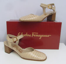 SALVATORE FERRAGAMO SHOES NIB $195.00 BEIGE LEATHER CROC GRAIN BRINA SIZE 7 AA