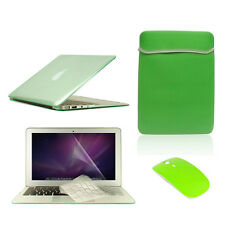 "5 in1 Crystal GREEN Case for Macbook Air 11"" + Key Cover + LCD Screen+ Bag+Mouse"