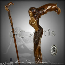 DESIGNERS ART HANDMADE WALKING STICK CANE WOODCARVED HANDLE HIKING STAFF MERMAID