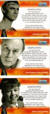 Dr Doctor Who Big Screen Additions Auto Redemption Cards Lot of 3 - A1, A2 + A3