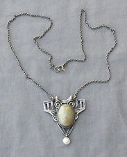 Vintage Sterling Silver Green Turquoise Pearl Dangle Arts & Crafts Pendant