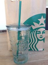 Starbucks Recycled Glass Grande Cold Cup To Go Tumbler with Straw Lid 16 oz NEW