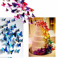 24Pcs 3D Butterfly Wall Stickers Art Decal Home Room Decorations Decor Kids