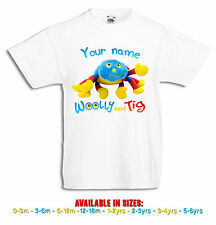 Woolly + Tig Personalised Boys, Girls White T Shirt cbeebies 0-3mths to 5-6yrs