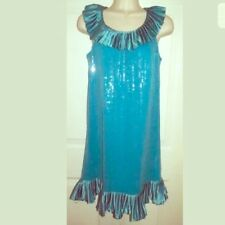 Betsey Johnson Prom Aqua Sequin Cocktail Dress 6 Turqoise Blue Party S NWT