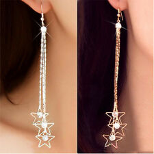 Women's Pentacle Rhinestone Drop Layers Chain Long Tassels Dangle Earrings