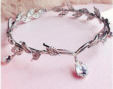 Princess Sliver Crystals Bridal Tiara Crown Wedding Party Bride Hair Accessories