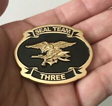 USN NAVY SEALS SEAL TEAM 3 THREE NSW TRIDENT CPO CHIEF CHALLENGE COIN RARE NEW !