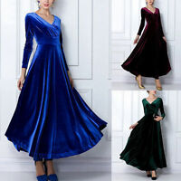 Ladies Winter Autumn Women Velvet Long-sleeve V-neck Long Maxi Dress 8-16