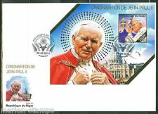 NIGER 2014 CANONIZATION OF POPE JOHN PAUL II SOUVENIR SHEET FIRST DAY COVER