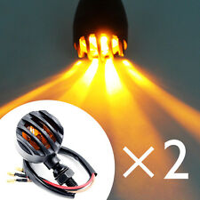 2x Black Grill Bullet Cover Turn Signals Lights For Harley Chopper Motorcycle