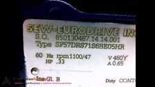 SEW EURODRIVE SF57DRS71S6BE05HR MOTOR 3PH .33RPM 460VAC 5.0NM