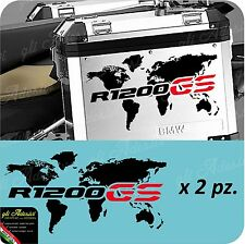 2 Adesivi Stickers Planisfero Moto NEW BMW R 1200 LC valigie adventure GS Rosso