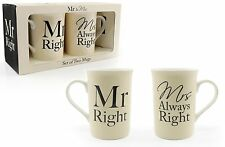 MR RIGHT & MRS ALWAYS RIGHT MUGS PERFECT NOVELTY GIFT CUPS WEDDING ANNIVERSARY