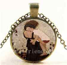 Vintage Mother and Child Photo Cabochon Glass Bronze Chain Pendant Necklace