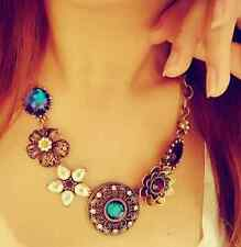 Women Fashion Crystal Flower Pendant Choker Chain Bib Statement Necklace Jewelry