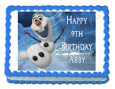 FROZEN OLAF Dancing party edible cake topper -frosting sheet- personalized free!
