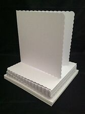 "Craft UK blank greeting card & envelopes scalloped edge 8""x 8"" white color x 25"