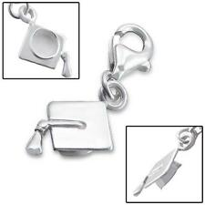 925 Sterling Silver 3D Graduate Graduation Hat Clip-on Bracelet Charm Boxed C324