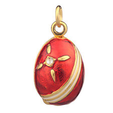 Faberge Egg Pendant / Charm with crystals 2 cm red #P04-16B
