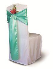 """100 Aqua Green Satin Chair Cover Sash Bows 6"""" x 108"""" Banquet Wedding Decor"""