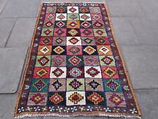 Old Traditional Hand Made Persian Oriental Gabbeh Rug Wool Red Blue 175x115cm