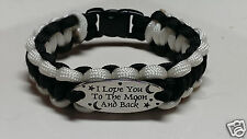 """""""I Love You to the Moon and Back"""" Paracord Bracelet; Black with White Trim"""