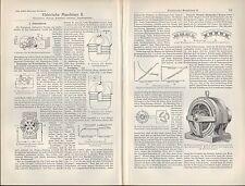 Lithografie 1907: Elektrische Maschinen. Wechsel-Strom-Maschine Dynamo Seitenpol