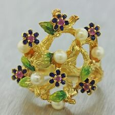 1970s Vintage Estate 18k Yellow Gold Enamel Flower Seed Pearl Cocktail Ring
