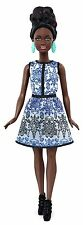 Barbie Fashionista Doll In Blue Brocade Black Skin Doll New