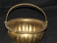 Small Vintage Brass Hinged Handle Cauldron Offering Bowl Planter Pot Ornate