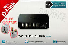 D-Link USB 2.0 Powered Hub 7-Port Fast for Laptop PC MAC 480Mbits +UK ADAPTER