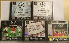 5 PS1 UEFA FOOTBALL SOCCER GAMES BUNDLE STRIKER CHALLENGE EURO 2000 CHAMP LEAGUE