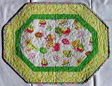 Handcrafted Quilted Table Runner Topper - EASTER EGGS DIPPED CHICKS YELLOW GREEN