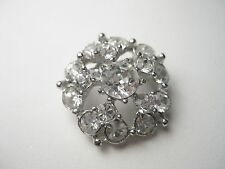 Vintage Bogoff signed Rhinestone Blossom Brooch - round - Clear & Beautiful