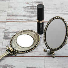 Vintage Style Brass Hand Held Vanity Mirror Princess Parties Girls Make Up NEW