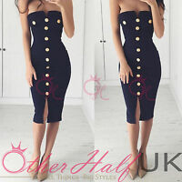 UK Womens Sexy Bodycon Pencil Cocktail Evening Ladies Party Dress Size 6 - 14