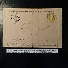N°28A LETTRE RENSEIGNEMENT CHARGEMENT ETOILE N°2 + CAD PARIS 2 (60) (ERREUR?)