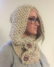 Chunky Hand Knit Hooded Scarf Pullover Cowl Headscarf Hoodie Winter  Wool NEW!!