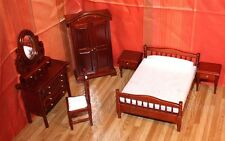 Dollhouse furniture BEDROOM brown 1:12 6 pieces HANDICRAFT