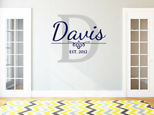 Personalized Family Name Wall Decal Monogram #26 Living and Family Room Vinyl