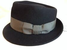 MAKINS NY USA MADE HANDMADE TRILBY FEDORA BLACK L 59CM