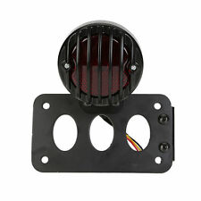 Black Motorcycle Vertical Side Mount License Plate Bracket Tail Light For Harley