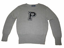 Polo Ralph Lauren Gray Track Football Varsity Patch P Wing Prep Sweater Large