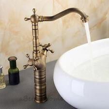 Vintage Double Cross Handle Bathroom Sink Basin Faucet Swivel Spout Mixer Tap