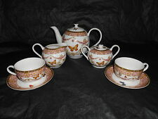 9pc GRACE'S TEAWARE Tea Set Pink Butterflies Pitcher Cup Saucers Creamer Sugar