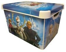 DISNEY FROZEN Bedroom Storage Box Toy Box Lidded 22L Plastic Elsa Anna Olaf